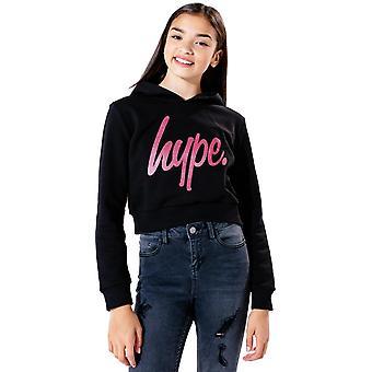 Hype Kids Glitter Script cropped Felpa con cappuccio nero 52