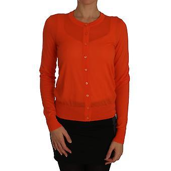 Orange cardigan lightweight cashmere sweater