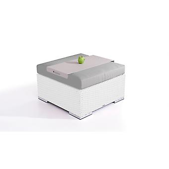 Polyrattan Cube kruk 75 cm - wit satijn
