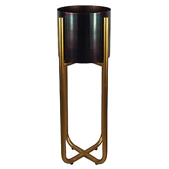 Tall Gold Stand with Black Metal Planter 62cm x 18cm