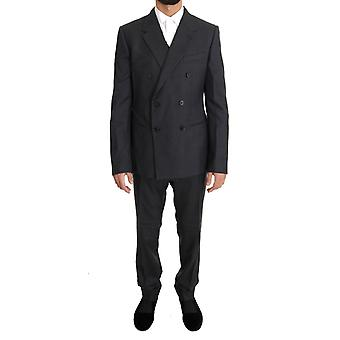 Dolce & Gabbana Gray Wool Silk Double Breasted Slim Suit