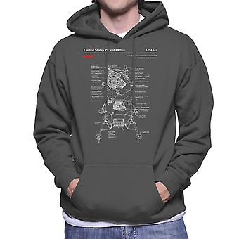 NASA Lunar Module Landing Blueprint Men's Hooded Sweatshirt