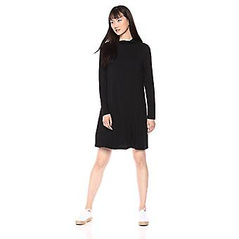 Marka - Daily Ritual Women's Jersey Mock-Neck Swing Dress, czarna, X-Small
