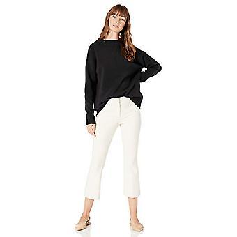 Lark & Ro Frauen's Boucle Mock Hals übergroßen Pullover, schwarz, groß