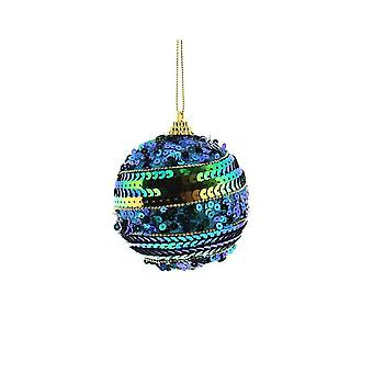 8cm Peacock Blue Sequinned Round Christmas Bauble