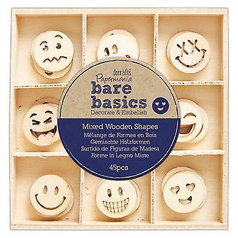 Papermania Bare Basics Wooden Shapes Smiley Faces (45pcs) (PMA 174746)