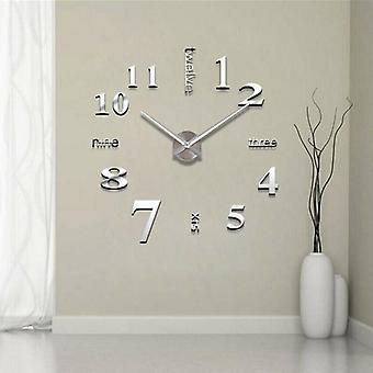 Diy 3d Mirror Surface Large Number Wall Clock Sticker - Mirror Large Art Design Wall Clock