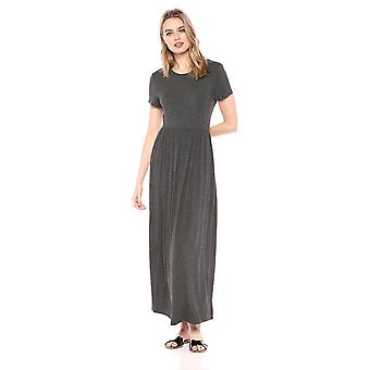 Essentials Women's Solid Short-Sleeve Waisted Maxi Dress, Charcoal Hea...