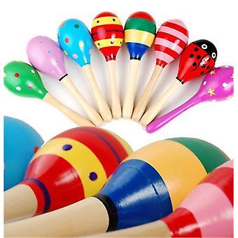 Madera más nueva colorida Maracas bebé / niño instrumento musical Rattle Shaker