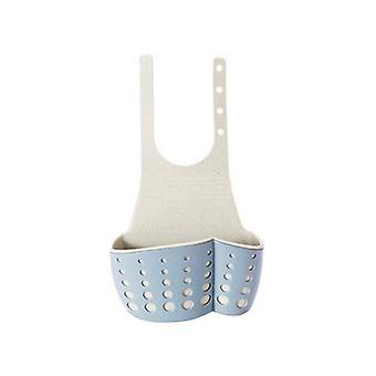 Adjustable Snap Type Sink Drain Storage Basket Blue 12x5x25cm