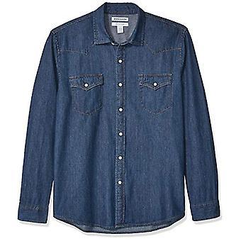 أساسيات الرجال & apos;ق القياسية العادية تناسب طويل الأكمام قميص الدنيم, متوسطة ...