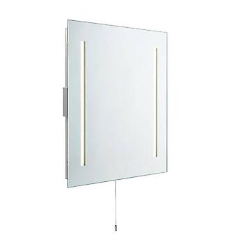 Saxby Glimpse - Geïntegreerde LED 2 Light Badkamer Scheerapparaat Wall Light Mirrored Glass, Mat Silver IP44
