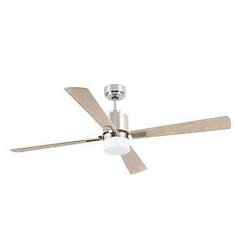 2 Light Large Ceiling Fan Matt Nickel, Maple with Light, E14