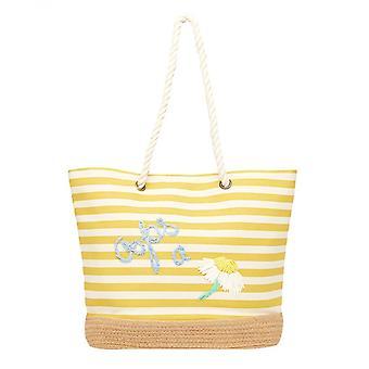 Joules Tenby Canvas Espadrille Bag (gele Daisy Stripe)