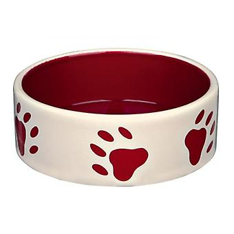 Trixie Feeder Ceramics, Red-Cream Footprints (Dogs , Bowls, Feeders & Water Dispensers)