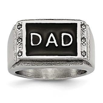 14.65mm roestvrij staal gepolijst zwart geëmailleerd CZ Cubic Zirconia Gesimuleerde Diamond Dad Ring Sieraden Geschenken voor vrouwen - R
