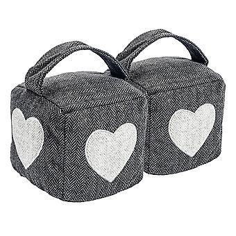 Accueil Intérieur Doorstop - Grey Heart Herringbone Modelé Arrêt porte avec poignée - Pack de 2