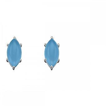 Elementos Prata Marquise Cab Blue Chalcedony Brincos E5701T