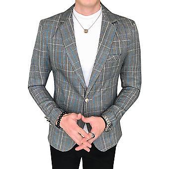 YANGFAN Mens Stripe Check Splicing Suit Jacket Flat Collar One Buckle Blazer Coat