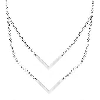 Ah! Jewellery Sterling Silver Layered Style Double Arrow Necklace, Sterling Silver, Stamped 925