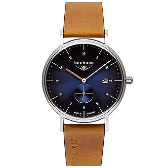 Bauhaus 2130-3 Blue Dial With Brown Leather Strap Wristwatch