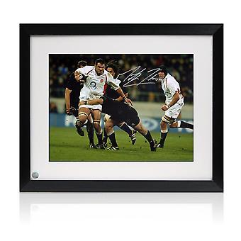 Martin Johnson signeerasi Rugby-kuvan: vs. Uusi-Seelanti. Kehystetty