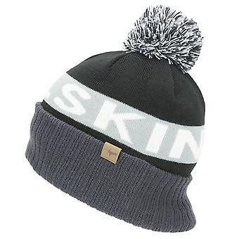 Sealskinz WR Cold Weather Bobble Hat - Black / Grey / White / Black