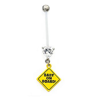 Anel de umbigo perfeito para período de gravidez com bebê a bordo sinal com cz gems 14g