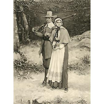 Puritan Couple On Way To Sunday Worship From An 1885 Engraving By Thomas Gold Appleton After A Painting By George Henry Boughton PosterPrint