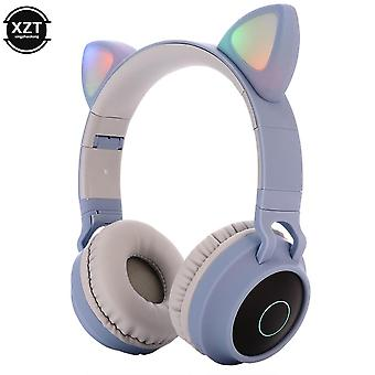 Led Cat Ear Headphones Bluetooth 5.0 Noise Cancelling  Adults Kids Headset
