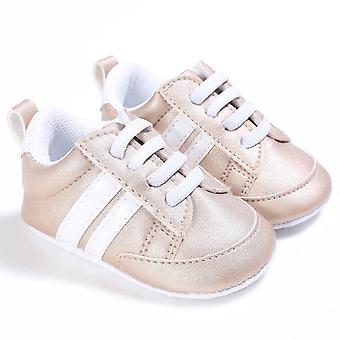 Kids Baby Unisex Crib Shoes, Lace Up Soft Sole & Comfort Pu Casual Prewalker