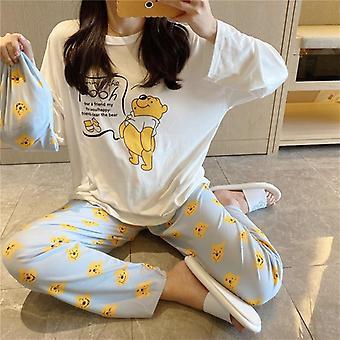 Daisy Printed Bag Pajamas Women, Cute Cartoon Long Sleeve Pants Homewear Set