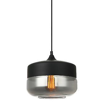 Italux Molina - Pendentif suspendu moderne Noir 1 Lumière avec noir, Ombre fumée, E27 Dimmable
