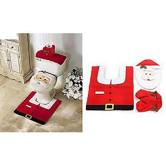 3pcs Toilet Seat Cover Set Decoration Christmas Season Santa For Bathroom