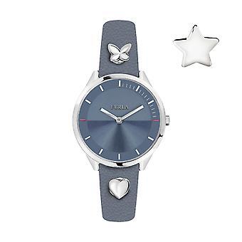 Furla Kvinder'S Pin Blue Dial Kalveskind Læder Watch