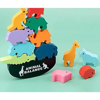 Wooden Animal Balance Blocks-montessori Games