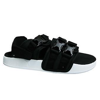 Puma Leadcat YLM 19 Triple Strap Black White Mens Slip On Sandals 369407 01