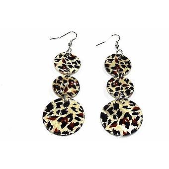 Leopard Print Tre Tier Pärlemor Örhängen
