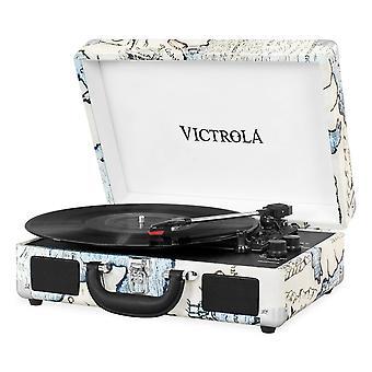 Victrola matkalaukku bluetooth 3-vaihteinen levysoitin - retrokartta