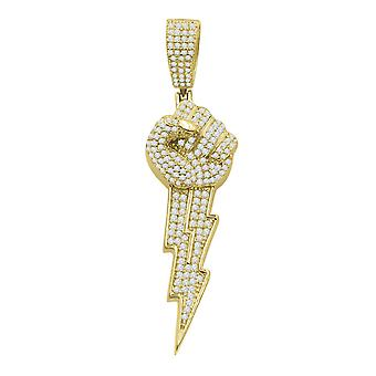 925 sterling silver 3D pendant - THUD POWER gold