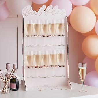 Rose Gold & Blush Pink Prosecco Drinks Wall Stand   Birthday Wedding Party Fun