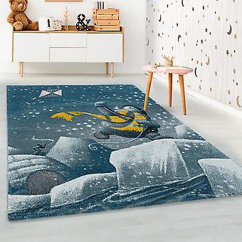 ShortFlor niños alfombra azul pingüino iglú diseño alfombra infantil suave