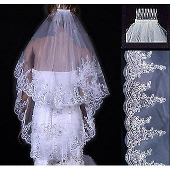 Two Layears White Ivory Wedding Veil