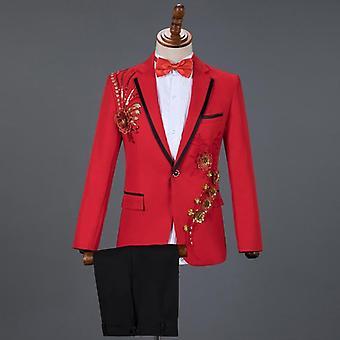 Red Diamond Floral Men Suits For Wedding, 3 Piece Blazer+pant+bow Tie, Tuxedo
