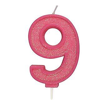 Vaaleanpunainen kimalteleva numerokynttilä - numero 9 - 70mm