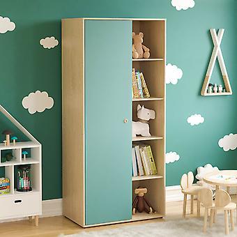 Neptune 1 Door 5 Shelf Wardrobe Two-tone, Blue & Oak