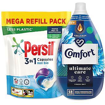 Laundry Bundle 1x50W Persil Non-Bio Capsules & 1x58W Comfort Fabric Conditioner