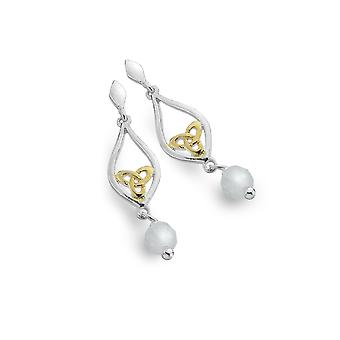 Boucles d'oreilles Sterling Silver - Celtic Knot + Moonstone + Gold Plated + Teardrop