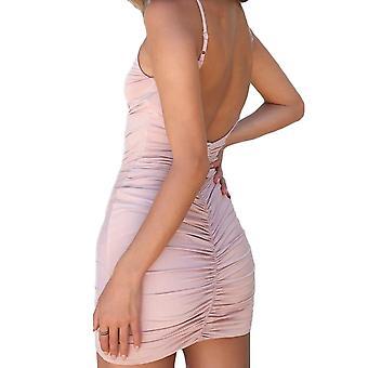 Sexy ženy bodycon šaty bez rukávov bez rukávov ruched špagety popruh hlboký v-neck party klub
