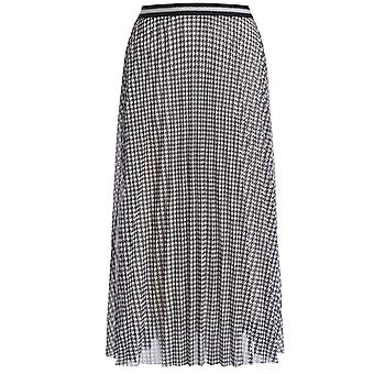Oui Dogtooth Check Geplooide rok